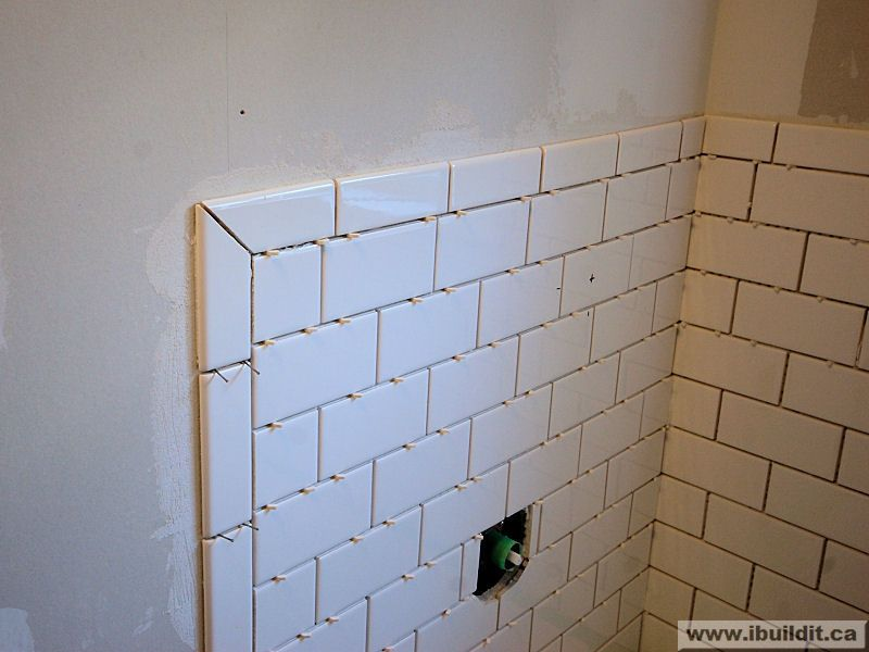 mitered joint w subway master bath renovation Pinterest