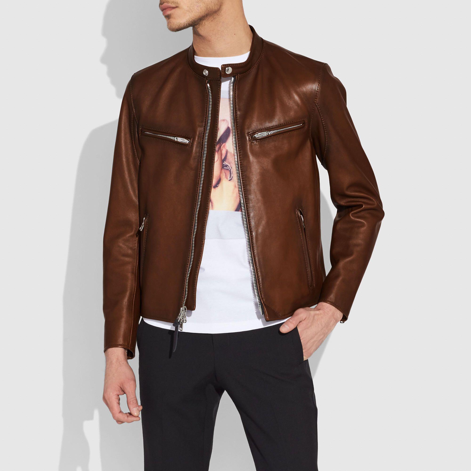 COACH Men's Leather Racer Jacket Luxury clothing brands