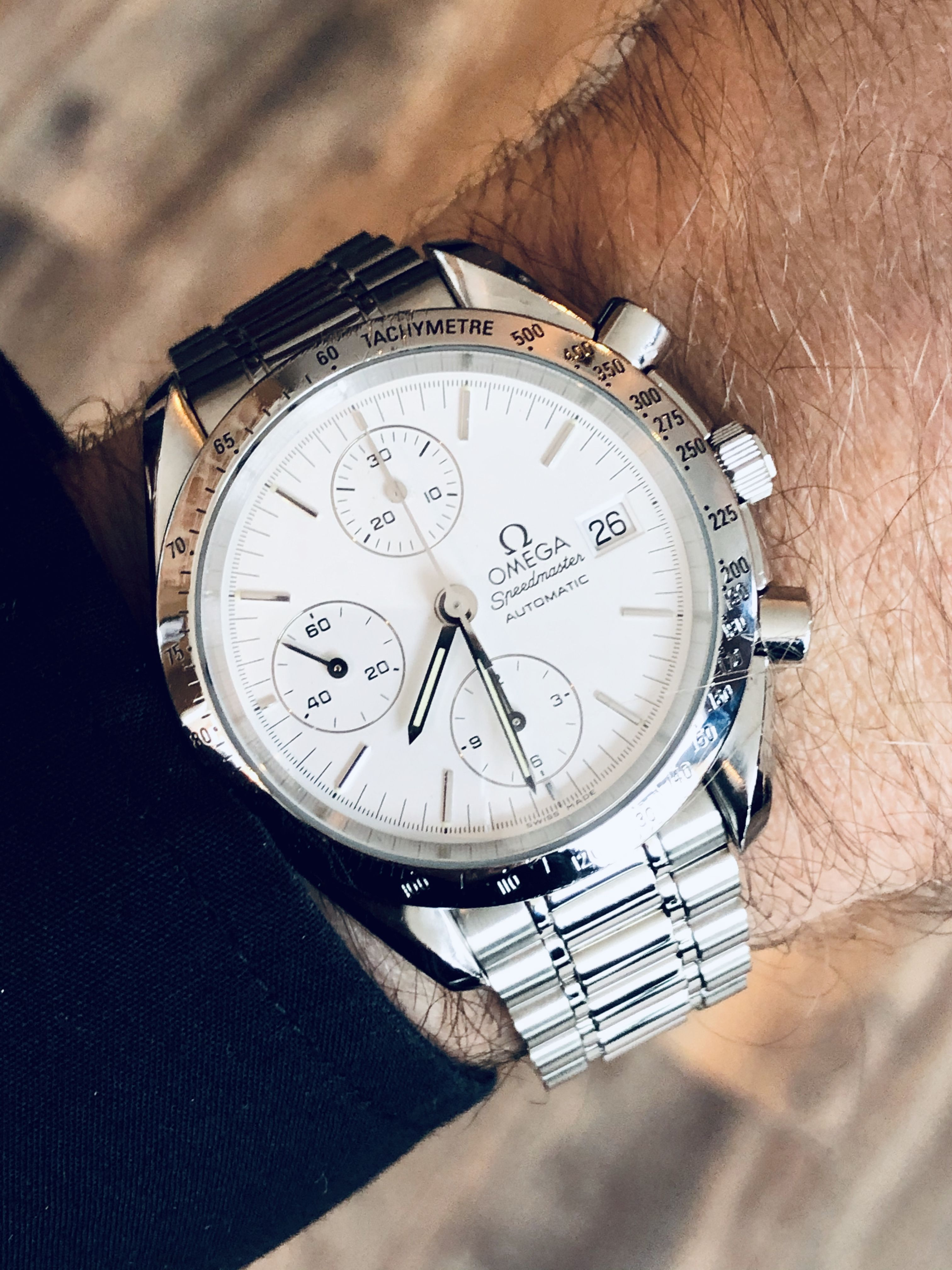 Omega White Dial Reduced Speedmaster 38mm Automatic mens watch