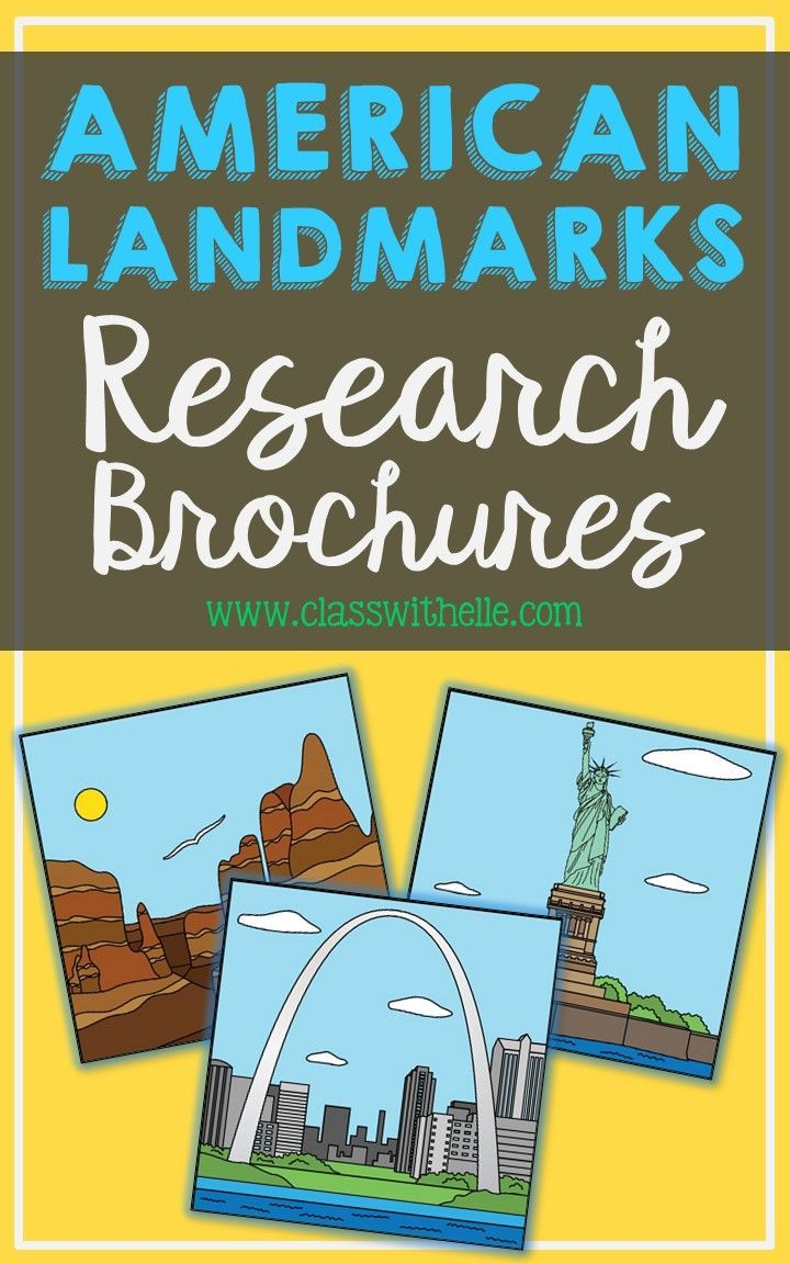 15 usa landmark brochure research projects  mini book  foldables  geography