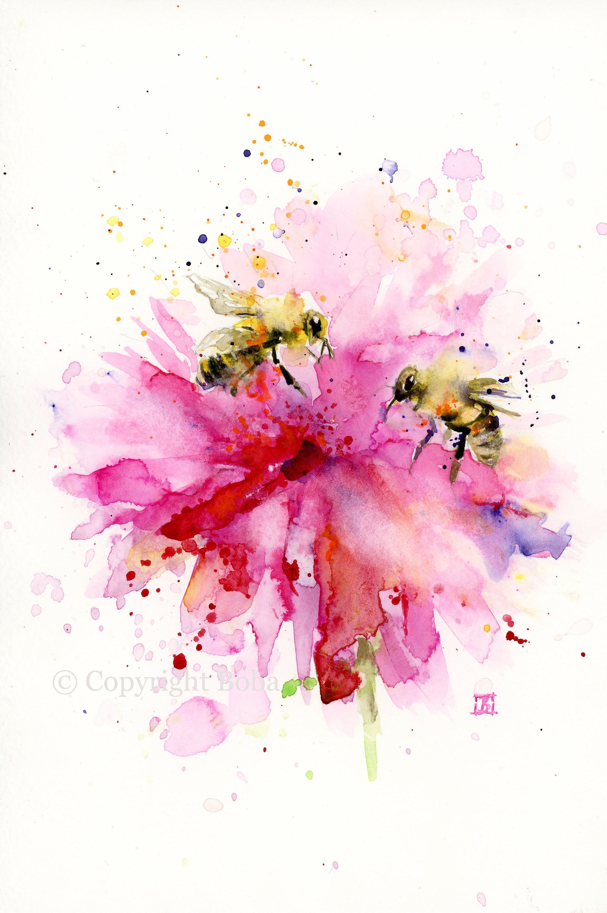 Bees On The Flower Original Watercolor Painting Bee Art Pink