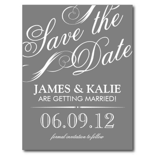 order gray and white vintage script save the date post card gray and