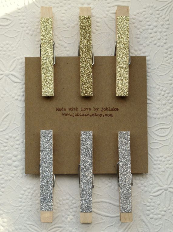 Large Glitter Clothespins 6  Sparkly Silver and/or by joblake, $5.00