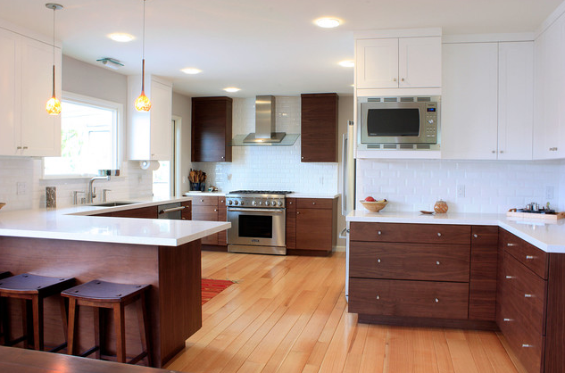 the inspiration from houzz flat front walnut doors and base