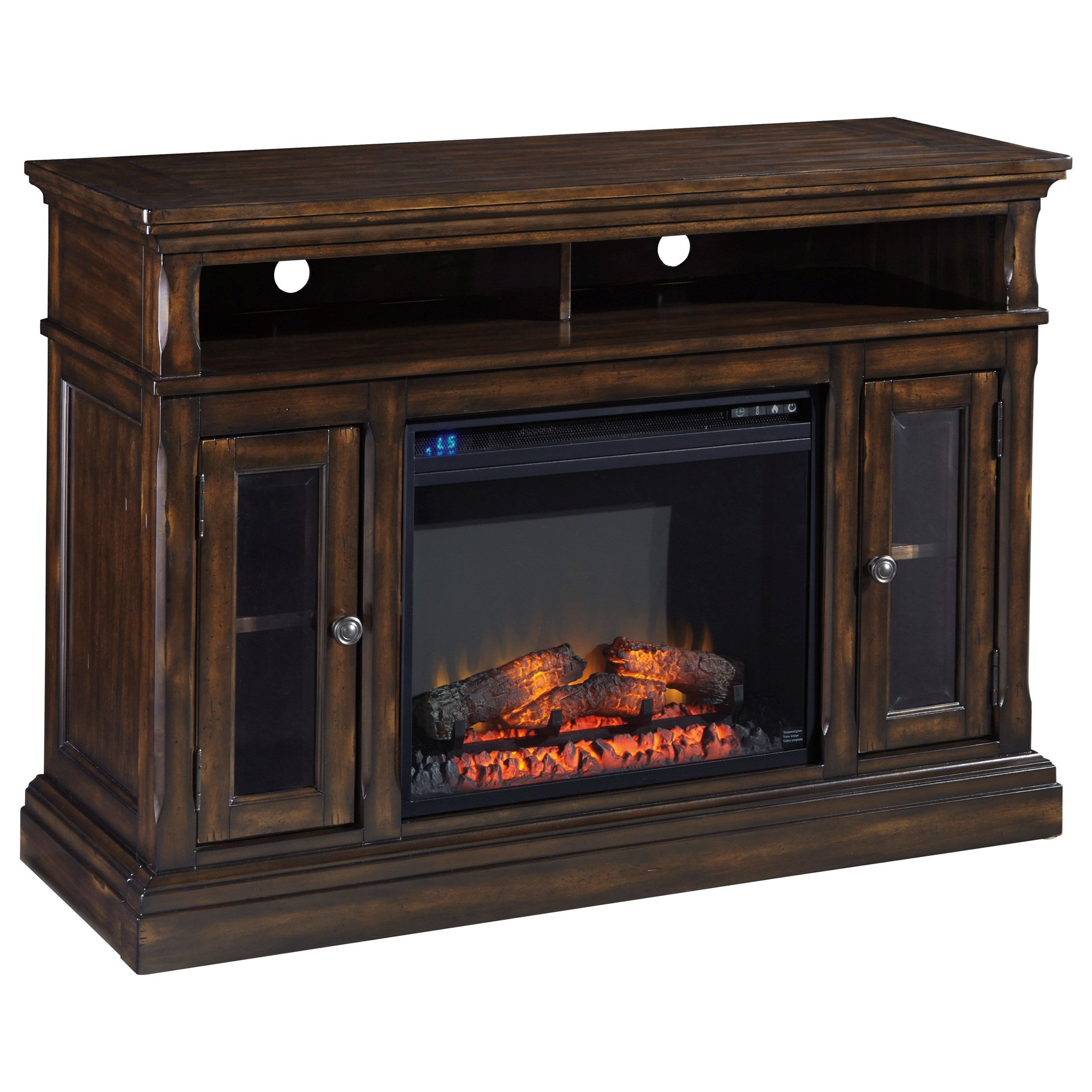 roddinton medium tv stand with fireplace by signature design by