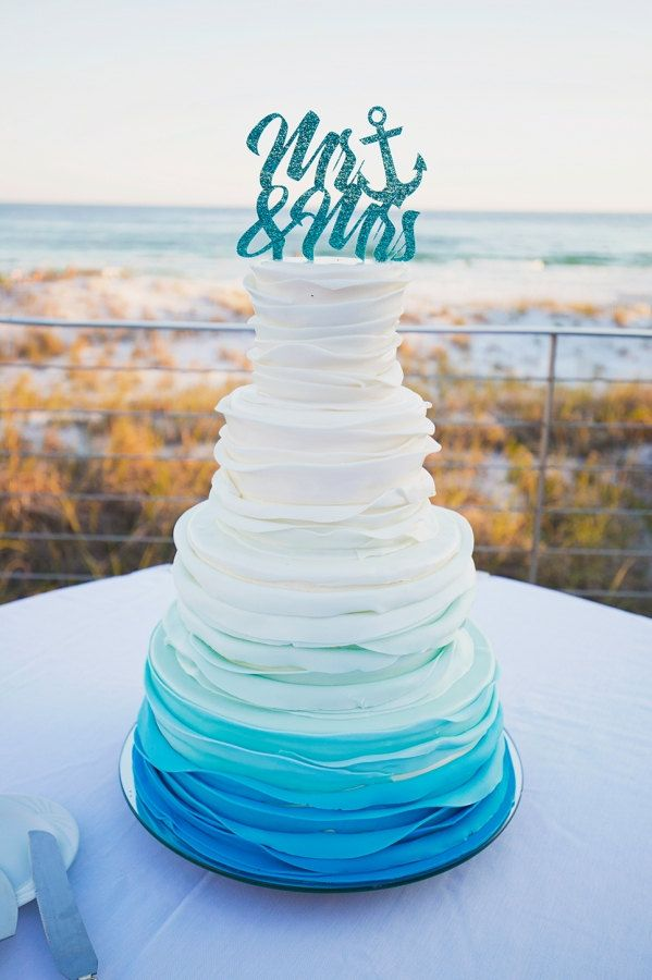 Beach Wedding Anyone This Ombre Beach Wedding Cake Is Perfection