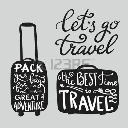 travel quote travel inspiration quotes on suitcase silhouette illustration