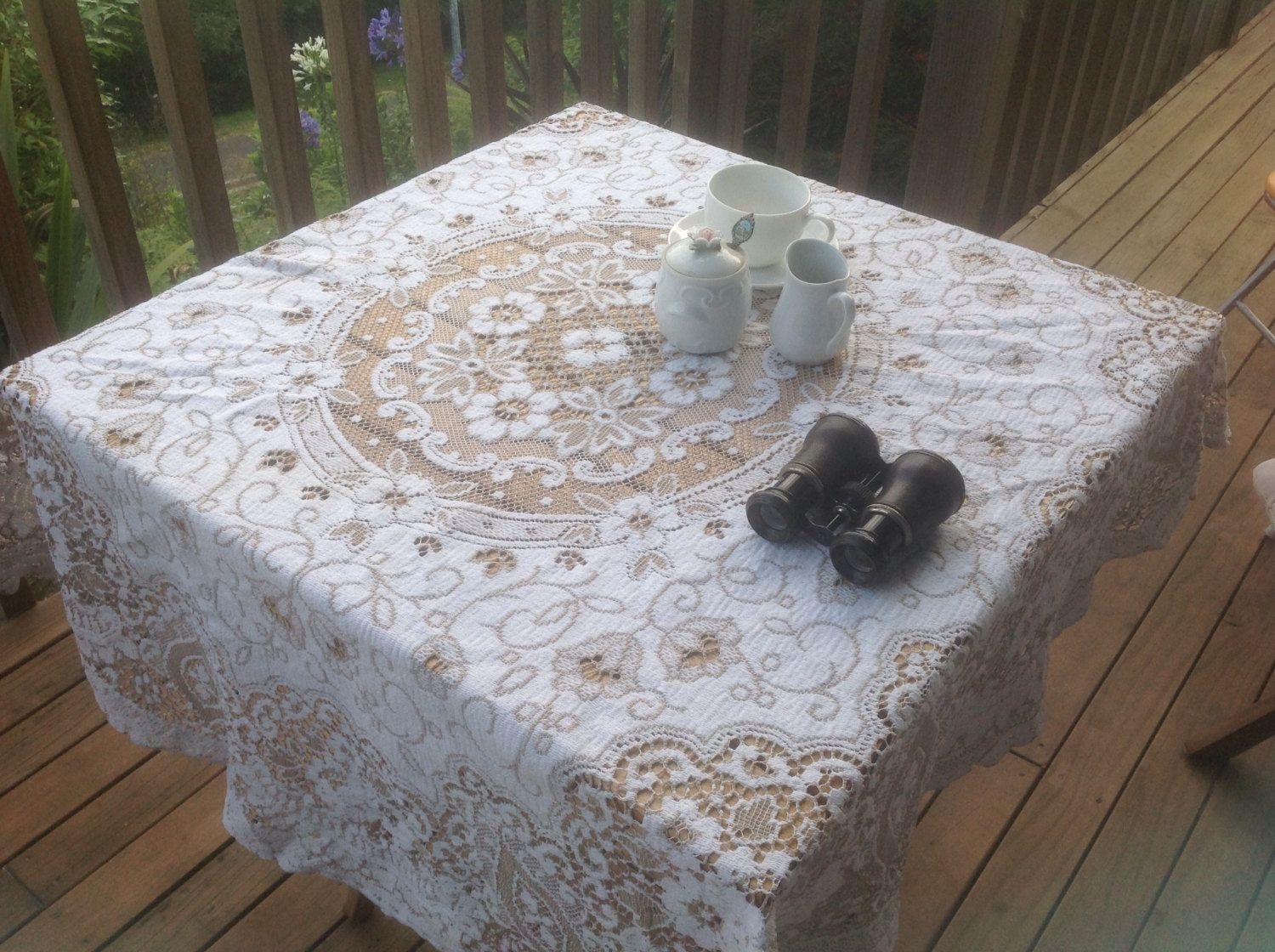 Vintage Round Shabby Chic French Lace Tablecloth . Ivory And Taupe.  Diameter 52 Inches (128 Cm)
