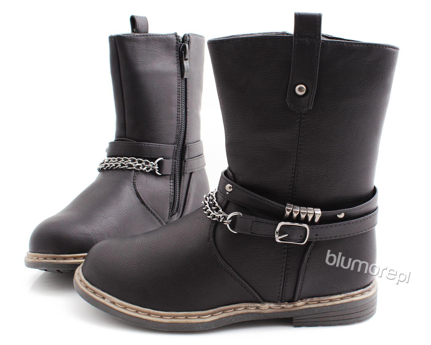 Glany Dla Dziewczynki Z Modnym Nadrukiem Moro 32 38 Kz11 Czarny Biker Boot Boots Shoes