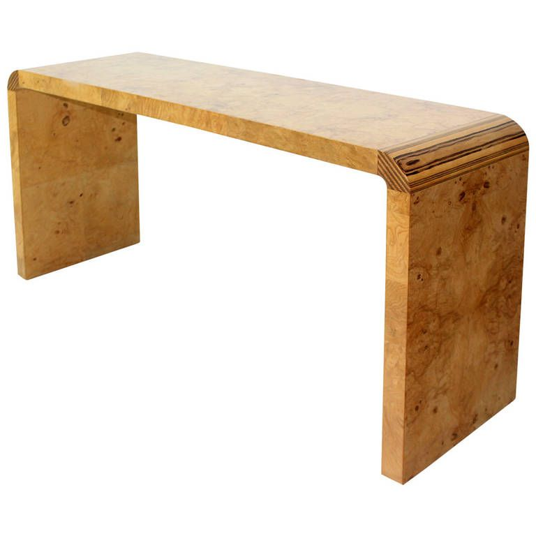 Burl Wood Midcentury Modern Console Table by Henredon