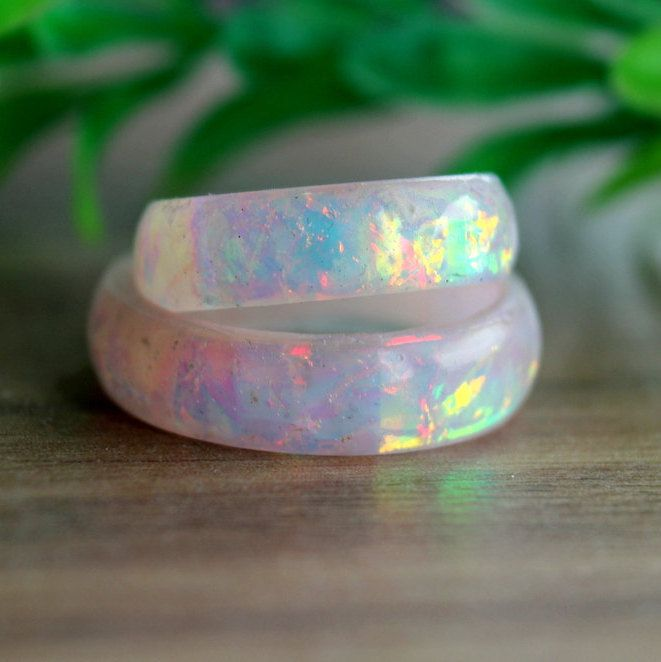 Photo of Opal resin imitation rings for women wedding band engagement birthstone boho promise resin jewelry unique bands ring rainbow