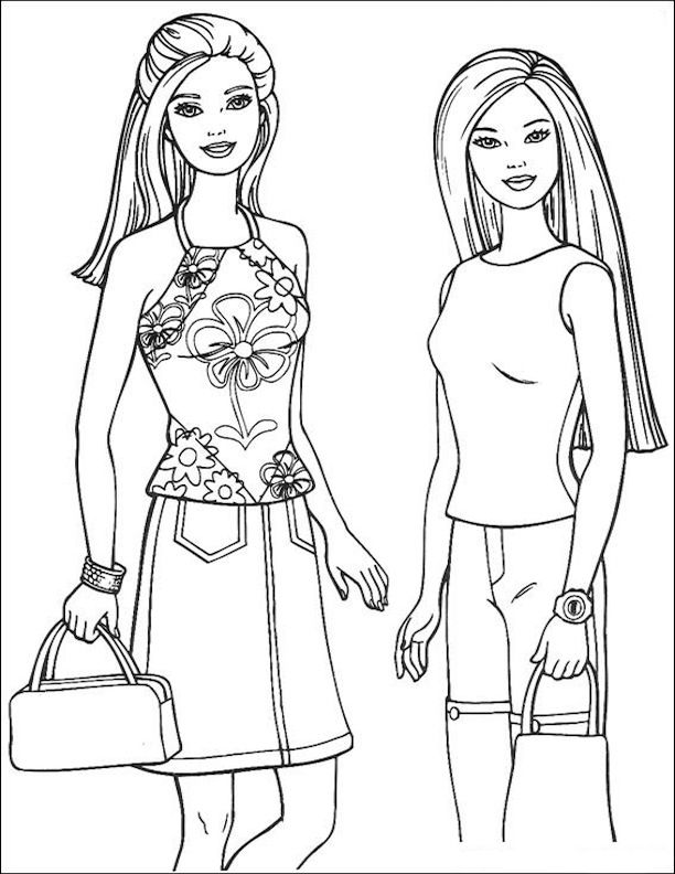 Barbie And Teresa Barbie Coloring Barbie Coloring Pages Coloring Pages For Girls