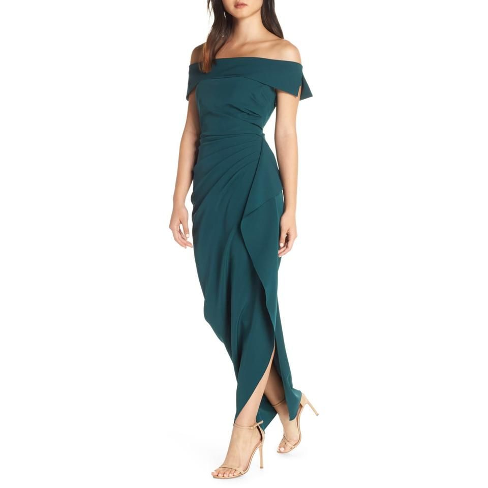 Vince Camuto Hunter Green Off The Shoulder Ruffle Long Night Out Dress Size 8 M Fashion Clothes Women Mother Of The Bride Dresses Night Out Dress [ 960 x 960 Pixel ]