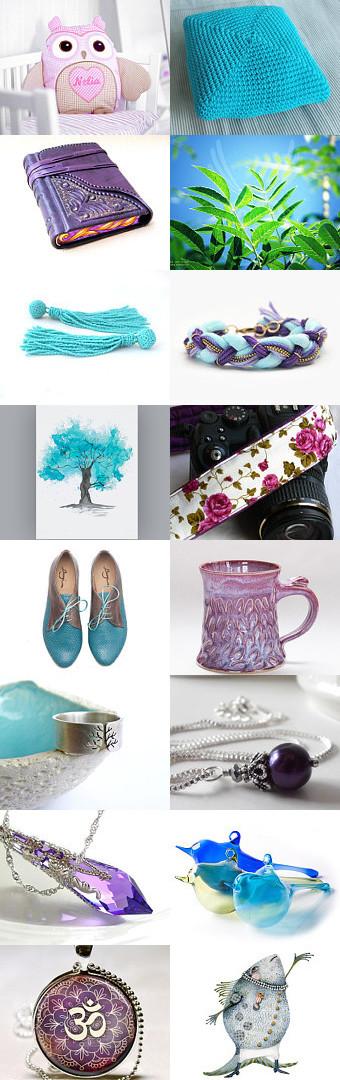Autumn Feeling - bright blue and purple #fashion #jewelry #toys #homedecor