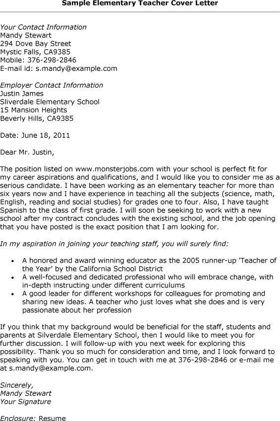 Cover Letter Template For Resume For Teachers Elementary