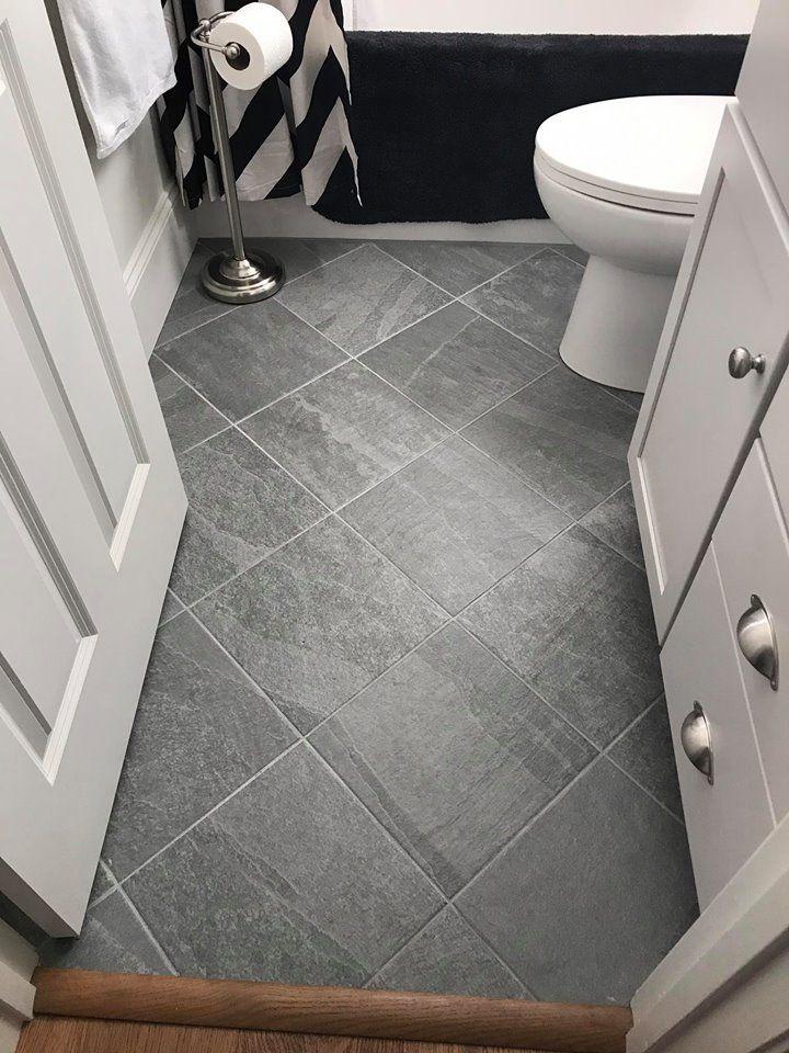 Florida Tile Cliffside In Light Grotto Color 12x12 Porcelain Tiles In Diagonal Diamo Patterned Bathroom Tiles Ceramic Tile Floor Bathroom Grey Bathroom Tiles