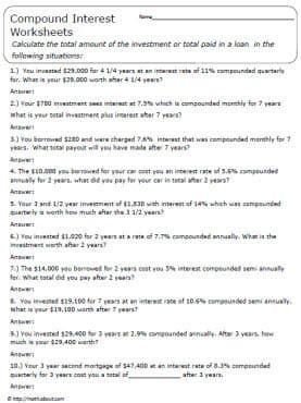 Compound Interest Worksheet High School - Best Worksheet