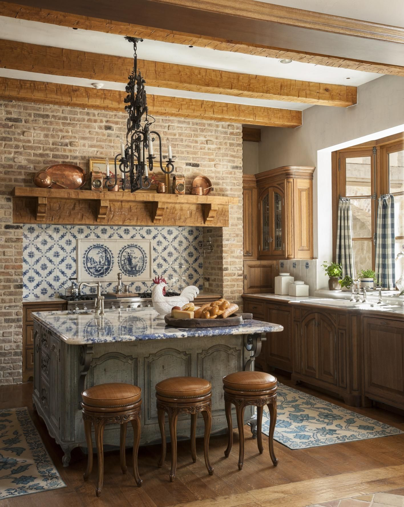 Beautiful Tile Work And Blue Bahia Granite Is Exquisite On The Island. Country  French Kitchens