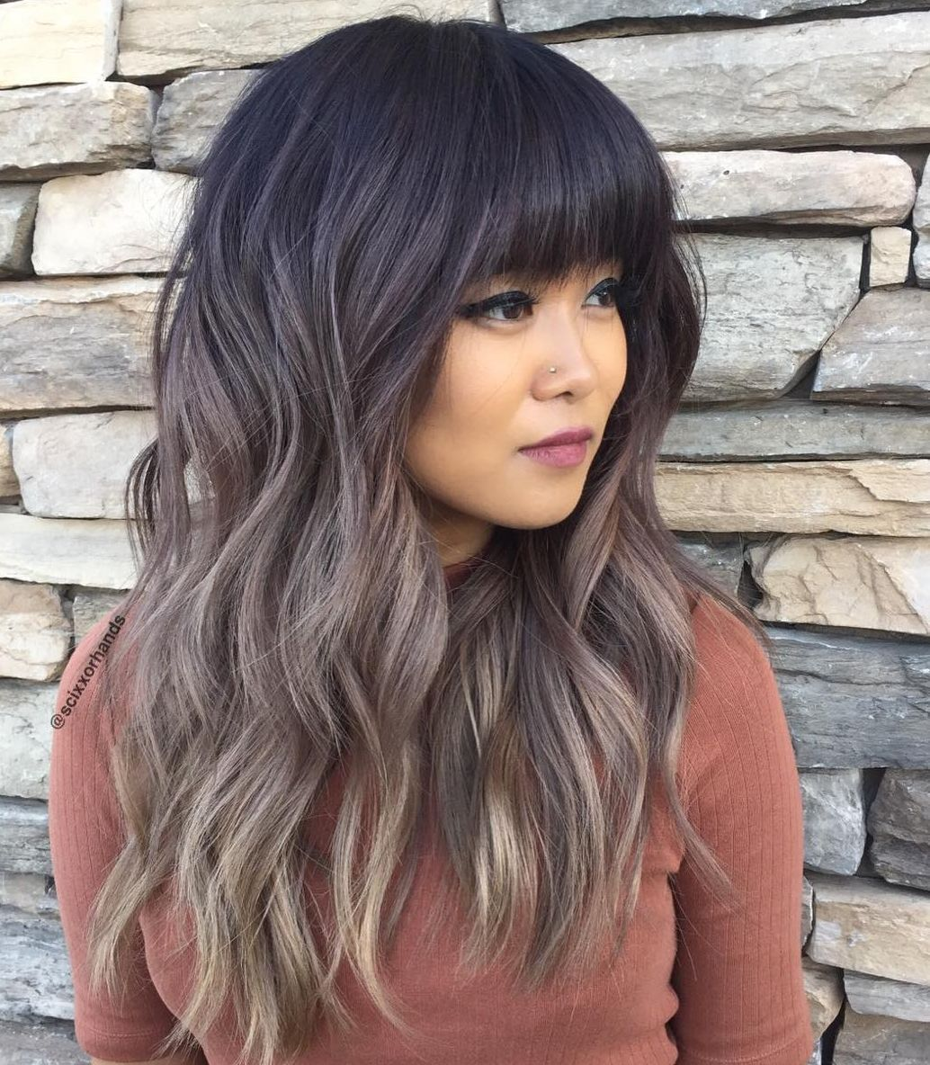 Ombre Hairstyles: Medium Haircut with Blunt Bangs recommend