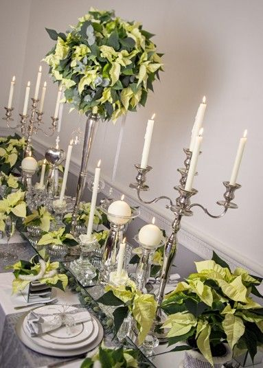 Poinsettia Table Decorations For Christmas With Images Poinsettia Table Decorations Christmas Table Decorations Christmas Centerpieces