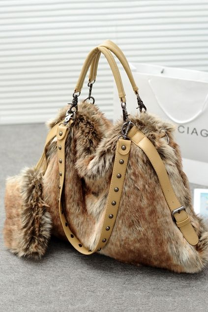 36b0a77fbd3 Riveted Faux Fur Shoulder Bag  55.00   Fur Fun!!   Pinterest ...