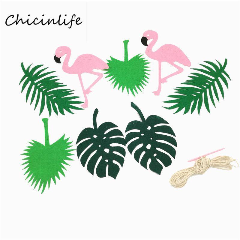 G nstige chicinlife 1 satz flamingo und bl tter banner for Gunstige gartendekoration