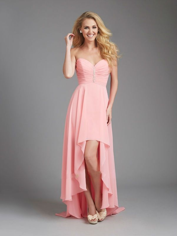 Popular Sweetheart Front Short And Long Back Pink Beach Bridesmaid ...