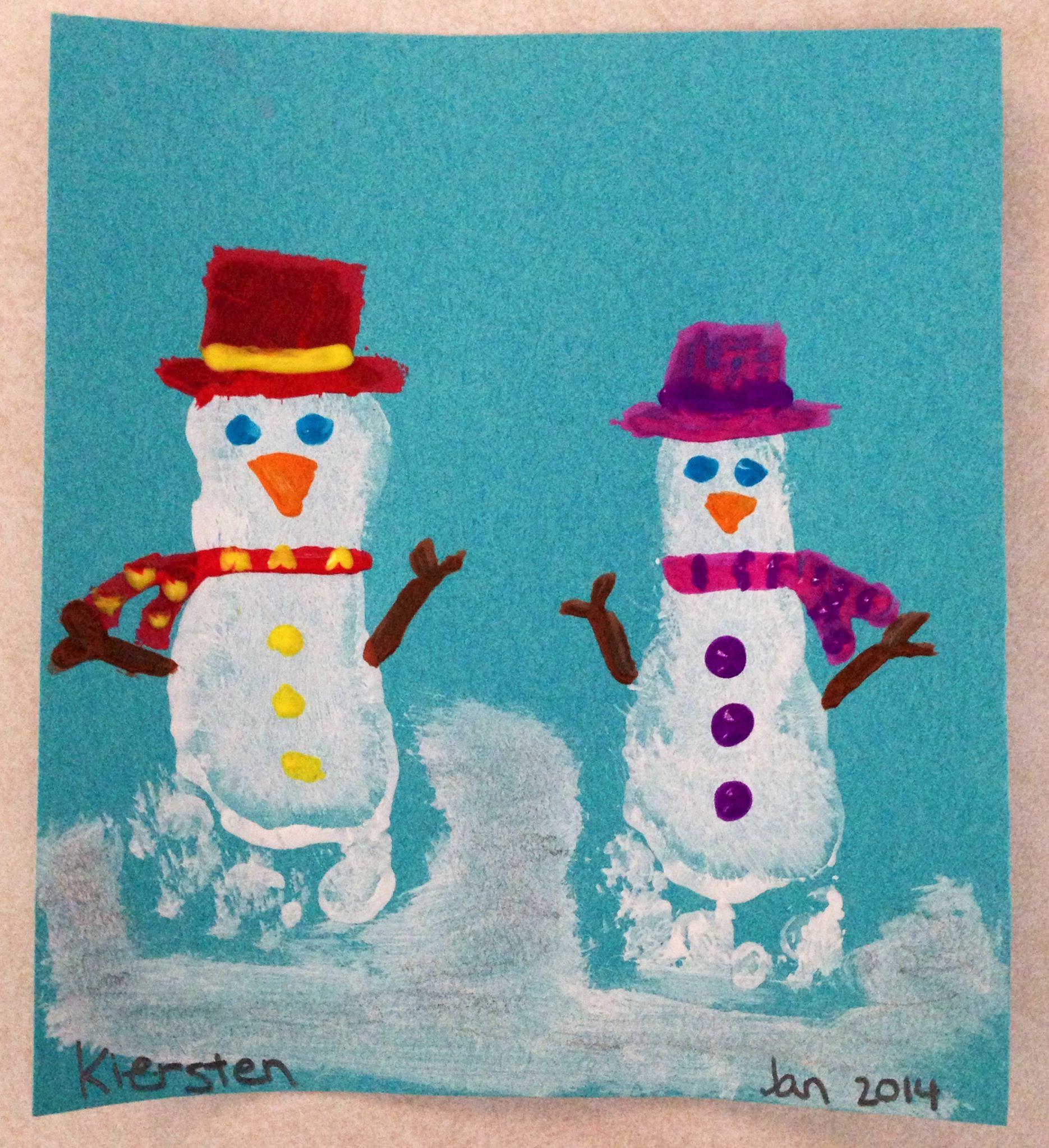 Snowman foot crafts Bricolage enfants Pinterest