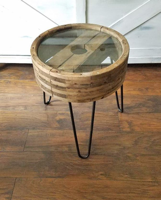 Latest DIY Small Side Table from a wheel upcycle Top Design - Style Of coffee table with wheels New
