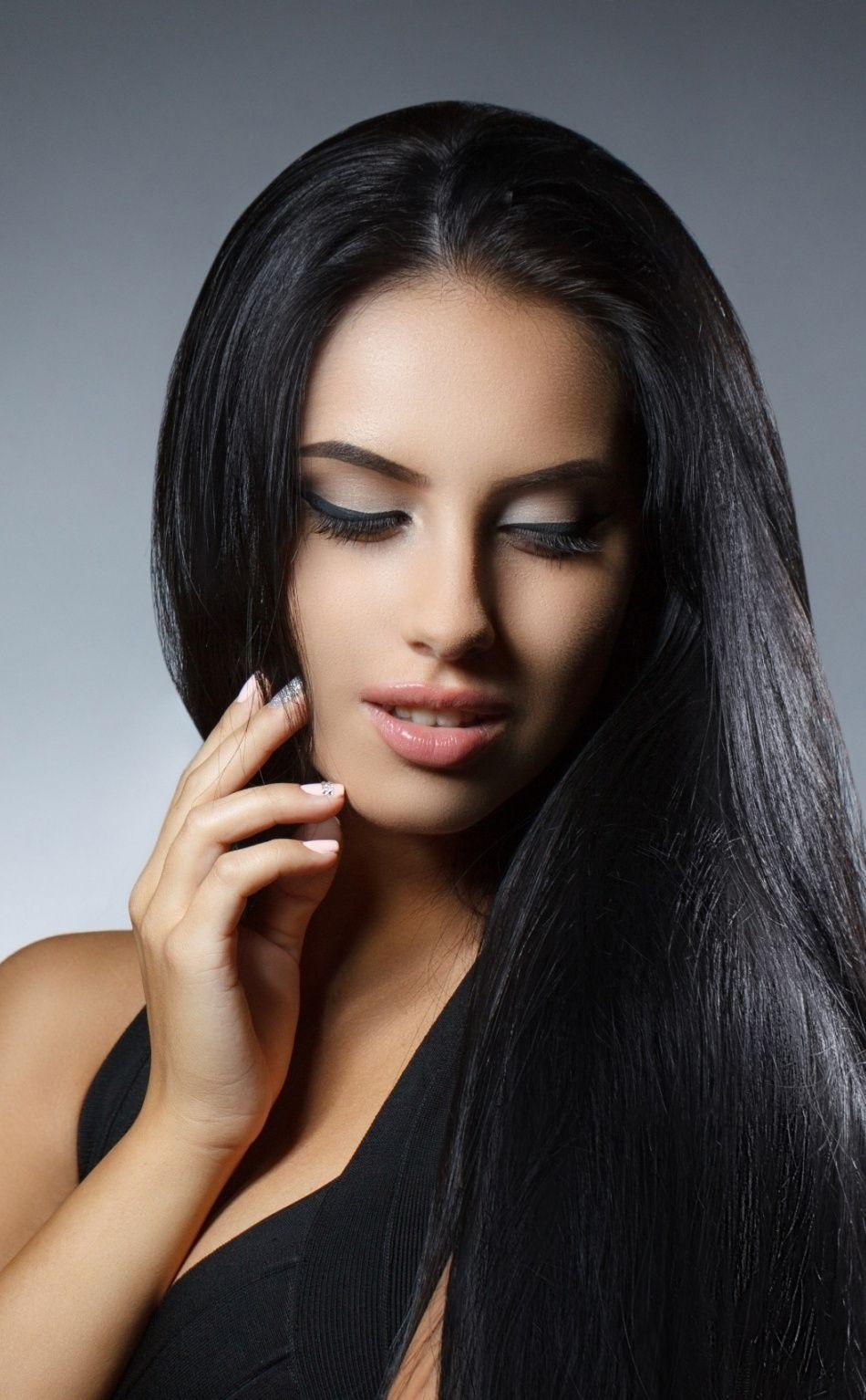Close Eyes Woman Model Black Hair 950x1534 Wallpaper Black Hair Beautiful Women Faces Female Models