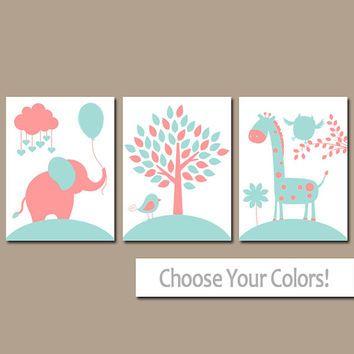 CORAL AQUA Nursery Wall Art, CANVAS or Prints, Baby Girl Nursery Decor,  Elephant