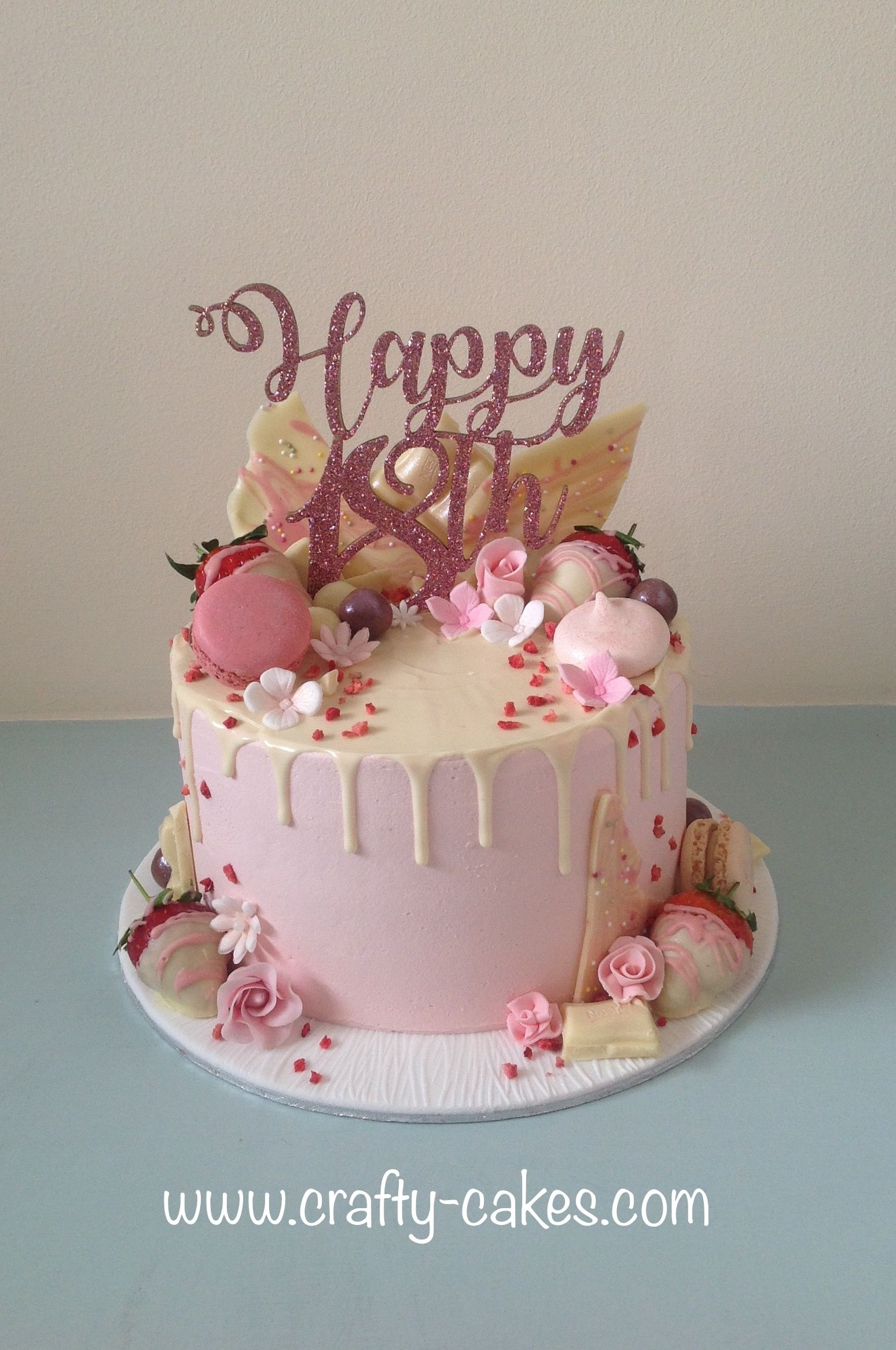 Surprising 18Th Pink Drip Cake Birthday Drip Cake Elegant Birthday Cakes Personalised Birthday Cards Veneteletsinfo