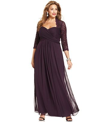 Xscape Plus Size Dress, Three-Quarter-Sleeve Glitter Lace Ruched Gown - Plus Size Dresses - Plus Sizes - Macy's for Karin?
