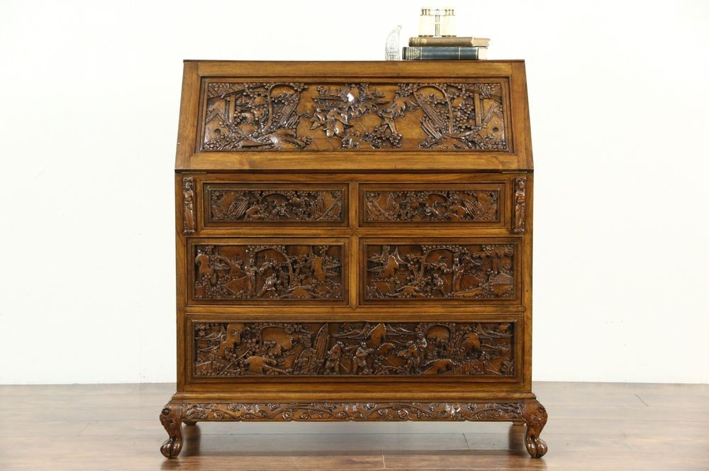 Deeply hand sculpted of solid genuine teak in China, this opulent secretary  desk is from - Chinese Hand Carved Teak 1930's Vintage Secretary Desk Secretary