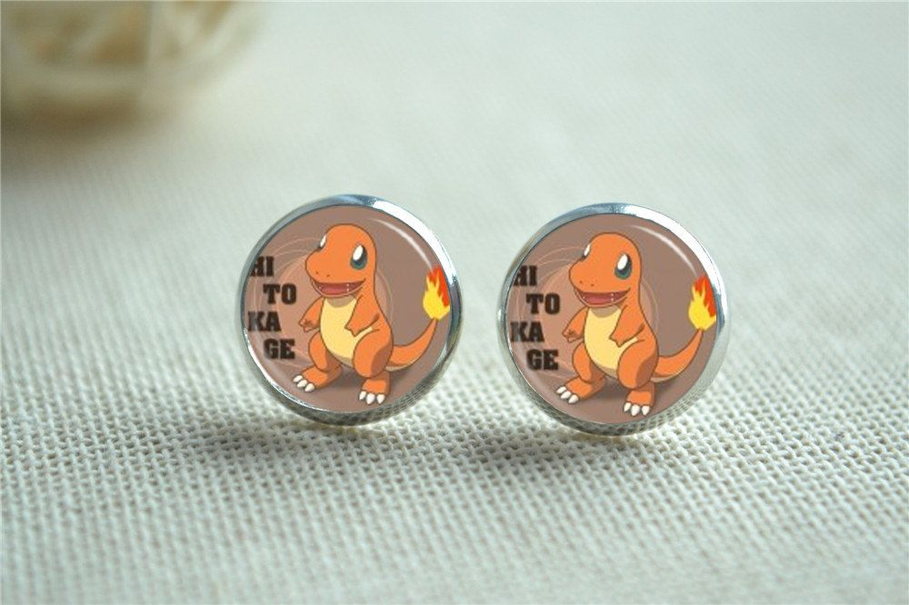Tiny Charmander Earrings ヒトカゲ Pokémon Earring Pokeball Stud Pocket Monster Posts Anime Post Jewelry Eh042 By Hmpisces