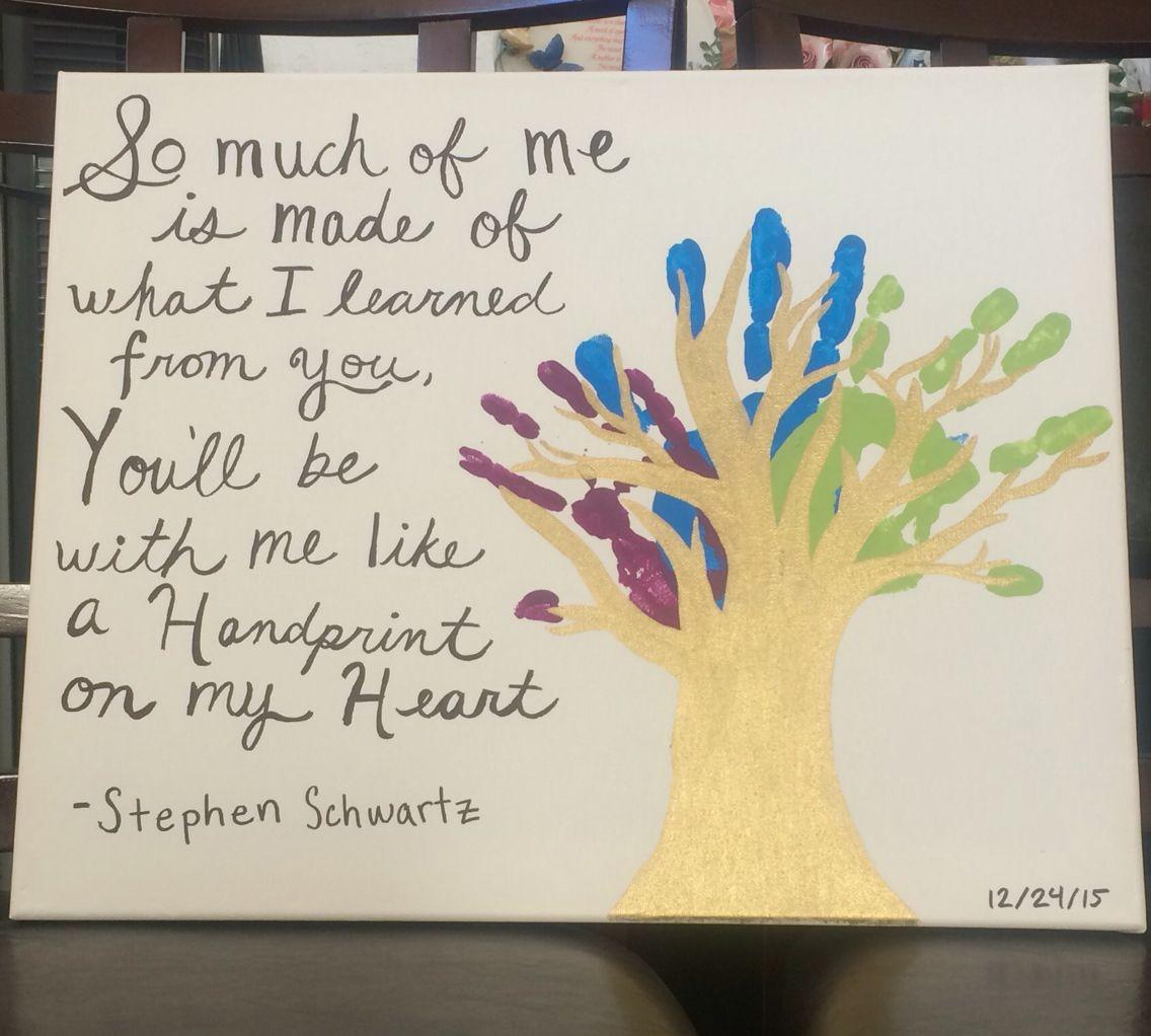 Mixed Media Acrylic And Sharpie On Canvas Handprint Tree Quote