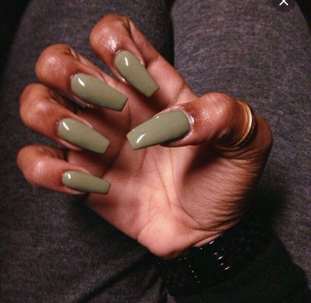 Cool Khaki Forest Green Nail Polish On Dark Skin Green Nails Dark Skin Nail Color Dark Nails
