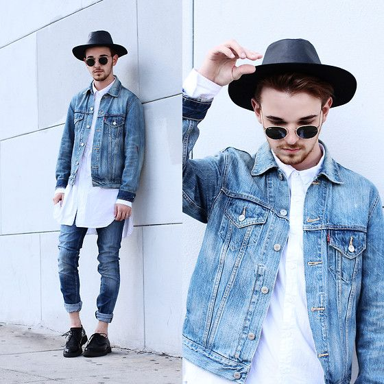 Get this look: http://lb.nu/look/7410738  More looks by Drew Scott: http://lb.nu/drewmscott  Items in this look:  Levi's® Denim Jacket, Levi's® Blue 510 Denim, Kill City White Button Up, Zara Pony Hair Creepers, Zara Brimmed Hat, Ray Ban Vintage Rounds   #edgy #minimal #street