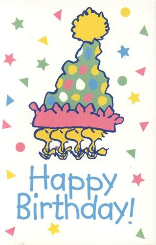Peanuts Postkarte - Woodstock Happy Birthday