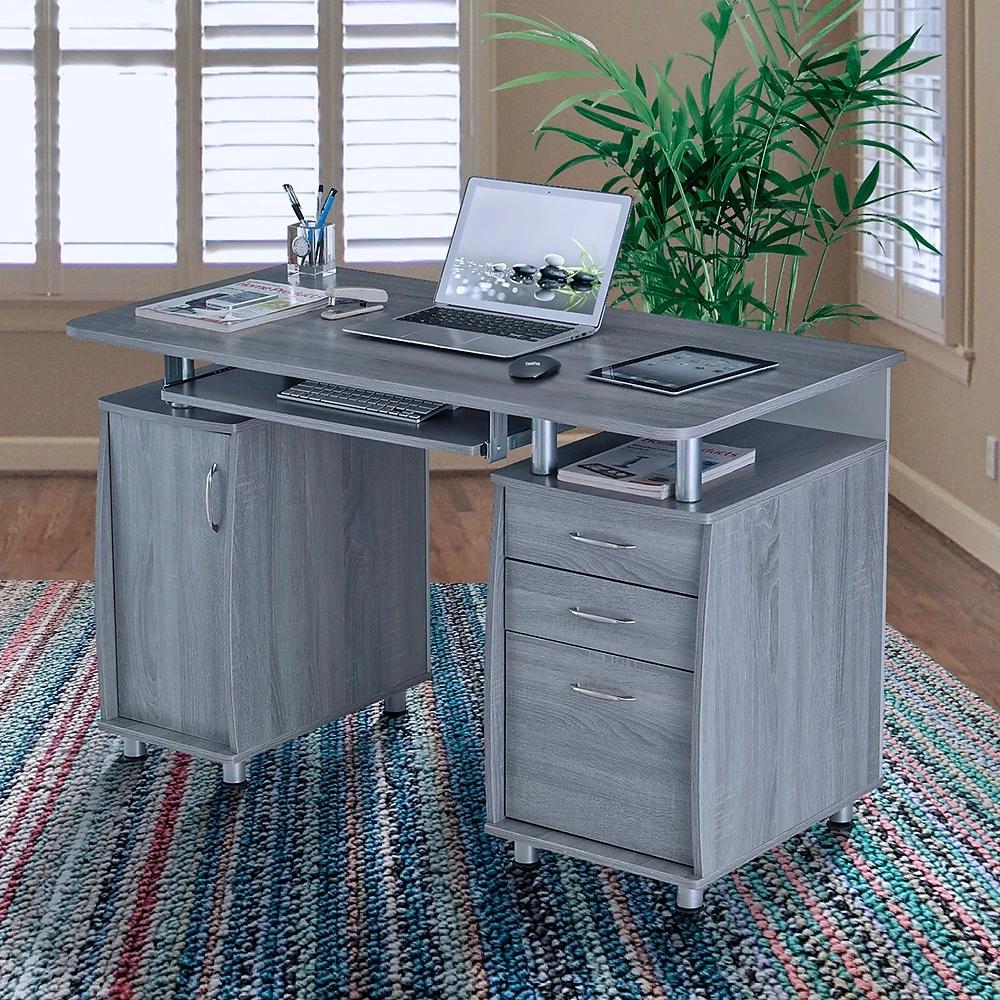 Techni Mobili Bureau D Ordinateur Complet Avec Rangement Gris Rta 4985 Gry Bureau En Gros Bure Computer Desk Home Office Furniture Wood Computer Desk