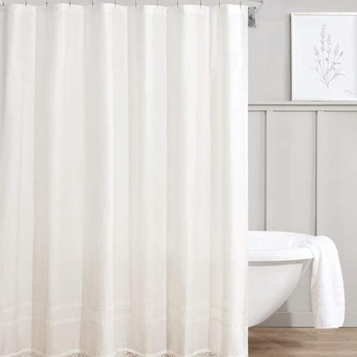 Gracie Oaks Budde Cotton Solid Color Single Shower Curtain