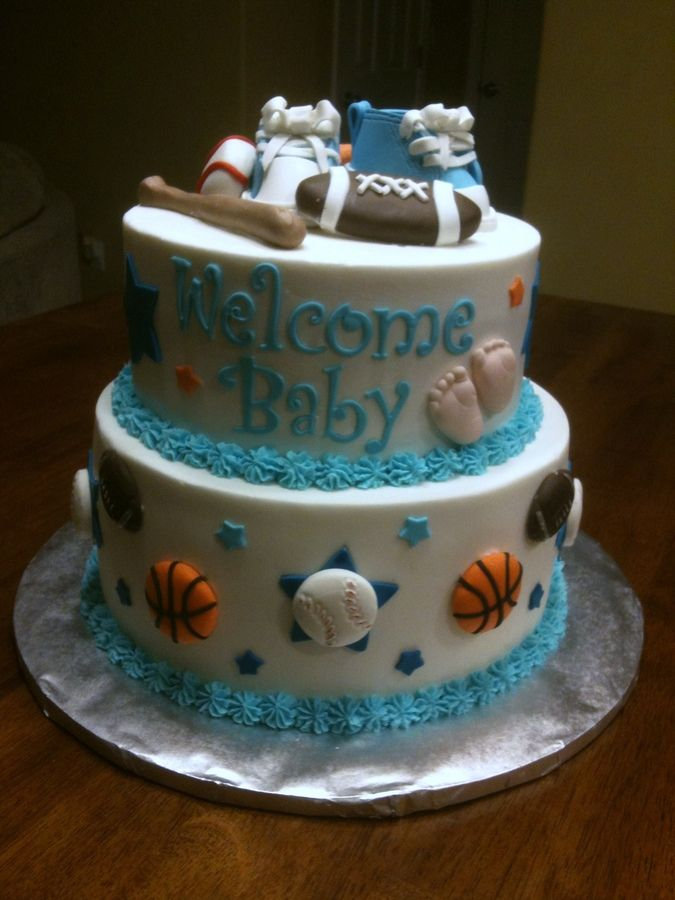 Baby shower cakes sports theme baby shower for Baby boy cake decoration