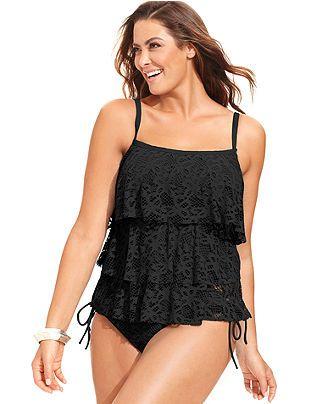 90ffd0fd9ad Kenneth Cole Reaction Plus Size Crochet Tiered Tankini Top   Side-Tie  Bikini Bottom - Swimwear - Plus Sizes - Macy s