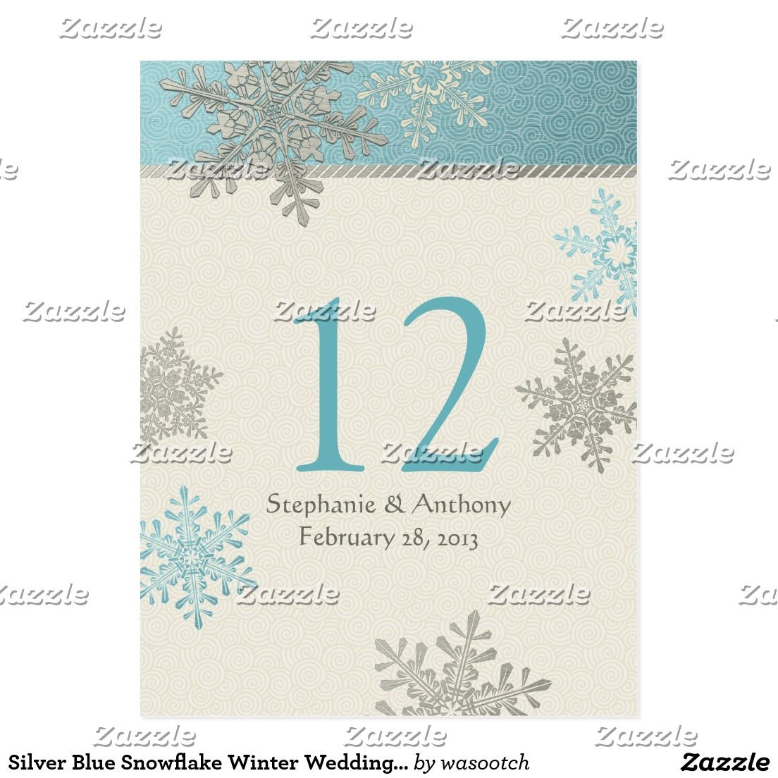 Silver Blue Snowflake Winter Wedding Table Card