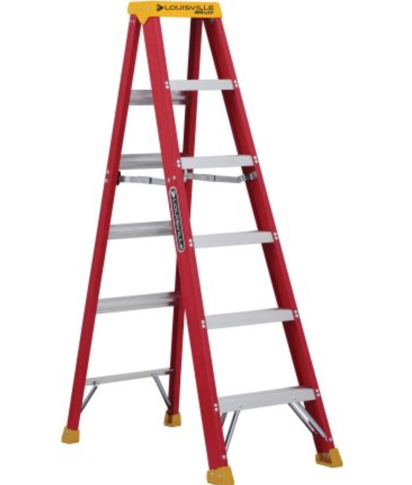 Lightweight Step Ladder Light For Home Fiberglass 6 Ft Folding Nonslip Handyman Louisvilleladder Step Ladders Ladder Fiberglass