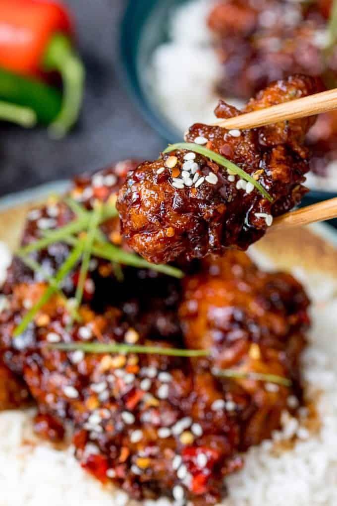 Chinese Crispy Chicken with Honey Garlic Sauce