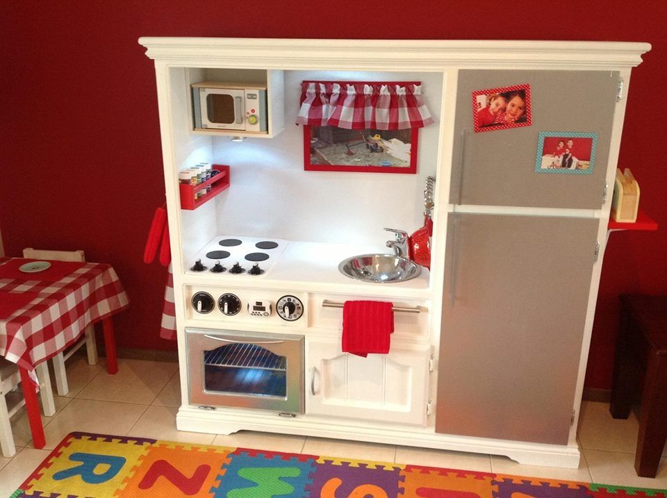 Converted tv cabinet into a play kitchen. Made for my daughter\'s 2nd ...