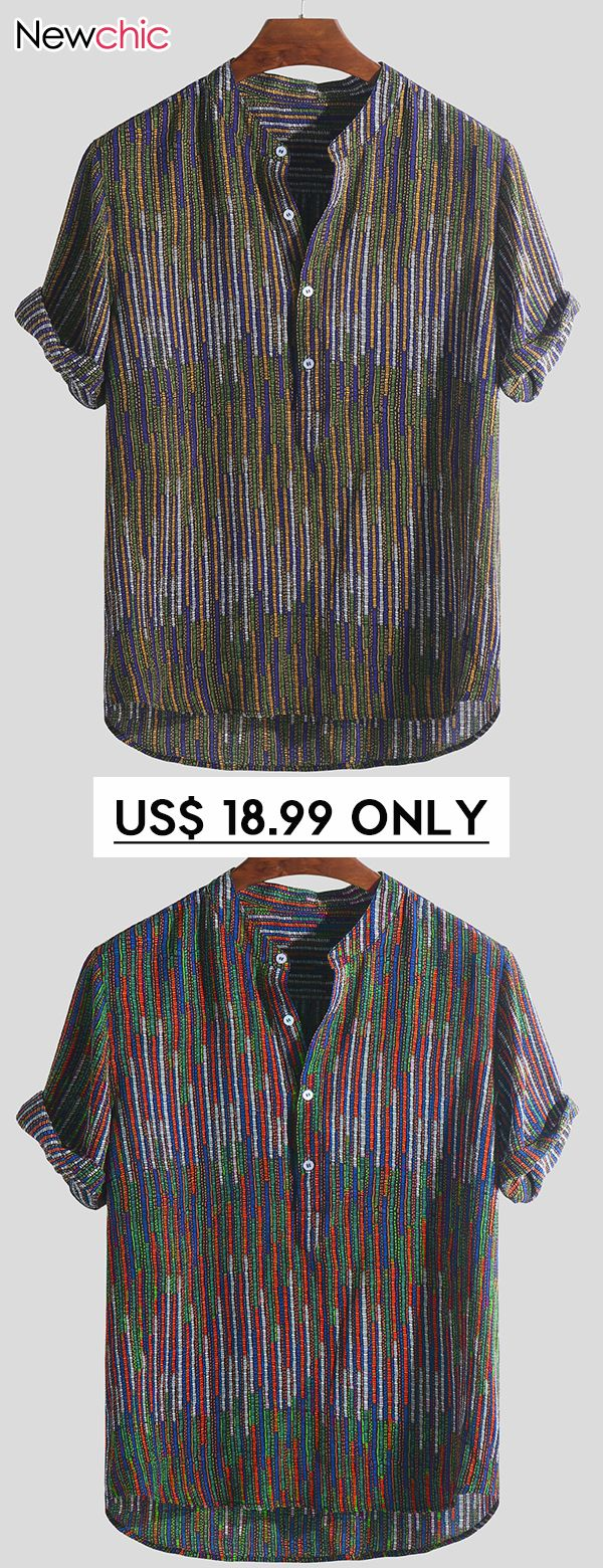 d8100526 Mens Ethnic Style Printed Stand Collar Colorful Stripe Short Sleeve Loose  Henley Shirts