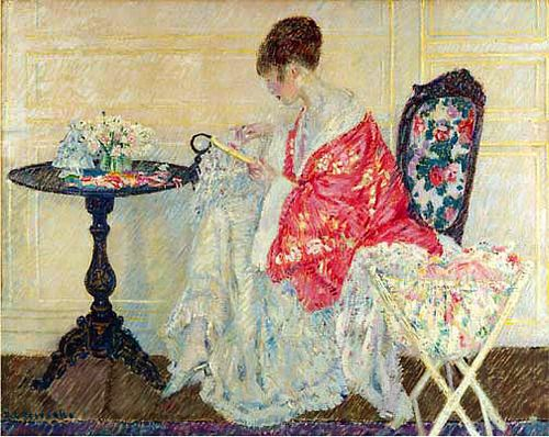 """Girl Embroidering"", 1914, by Frederick Carl Frieseke (American, 1874-1939)"
