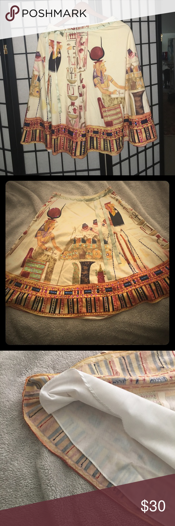 Beautiful A-Line skirt with Egyptian markings Egyptian influence skirt Lapis Skirts A-Line or Full